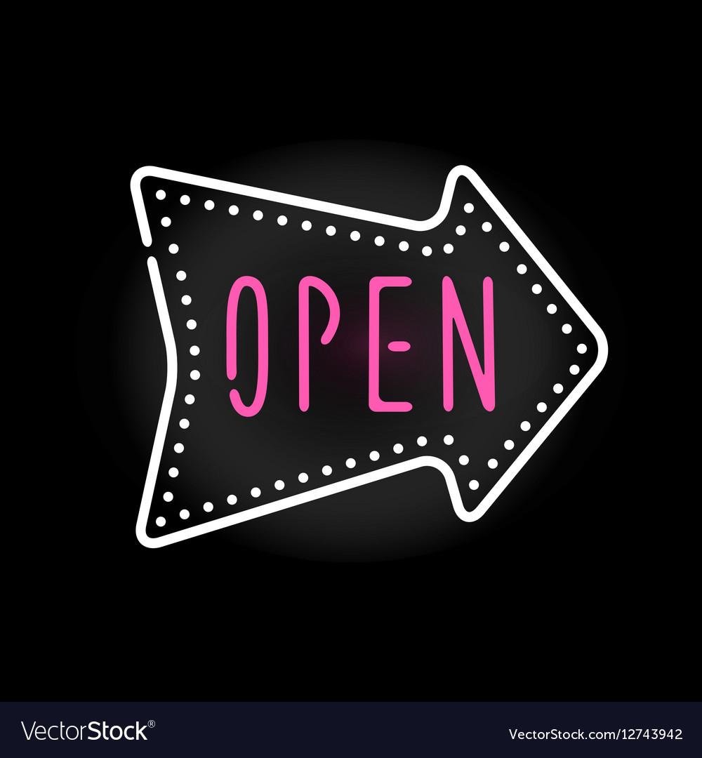 Light neon open label vector image