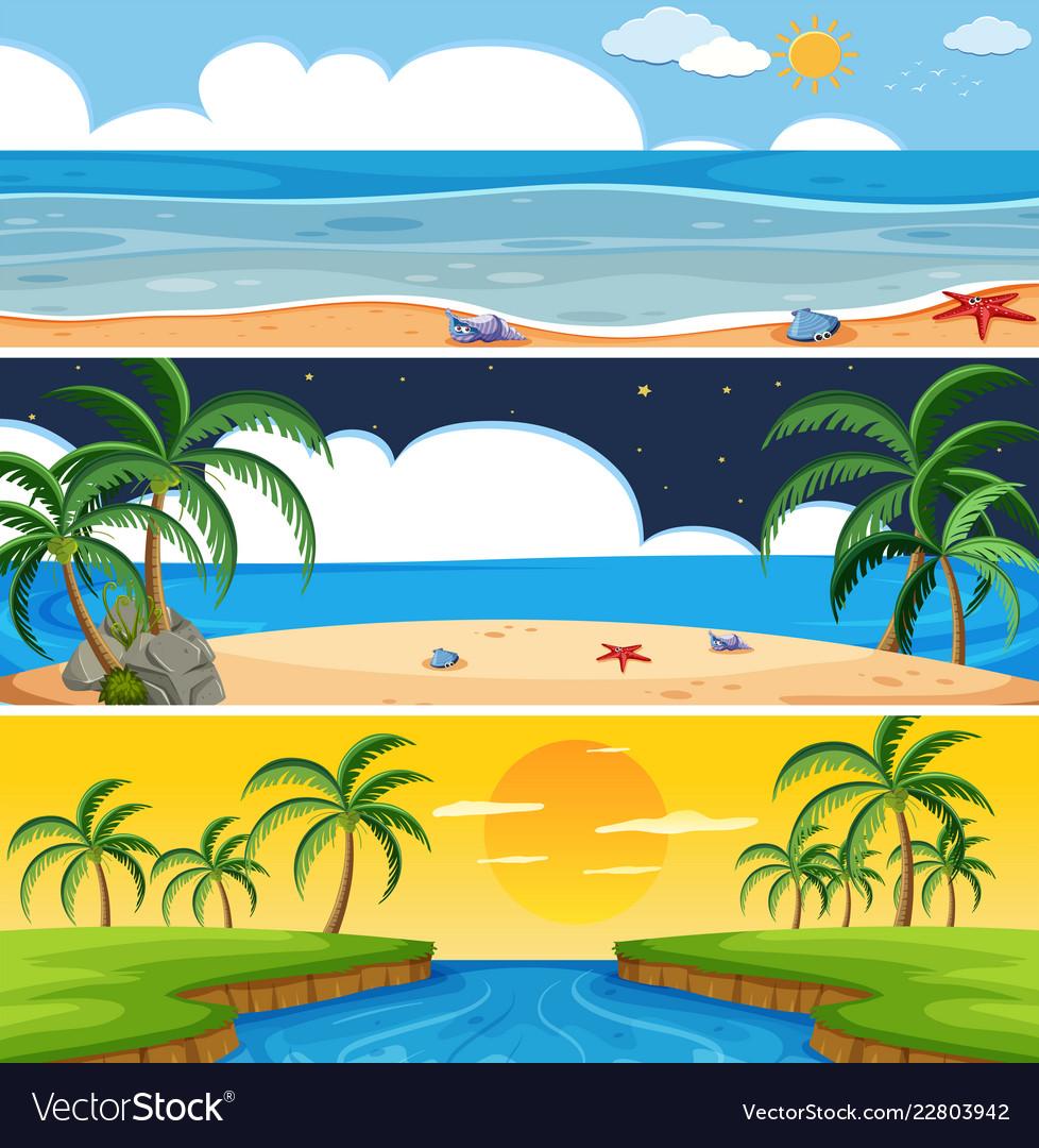 Set of summer beach landscape