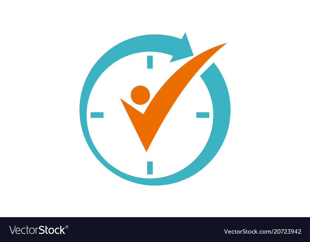 time management logo design template royalty free vector