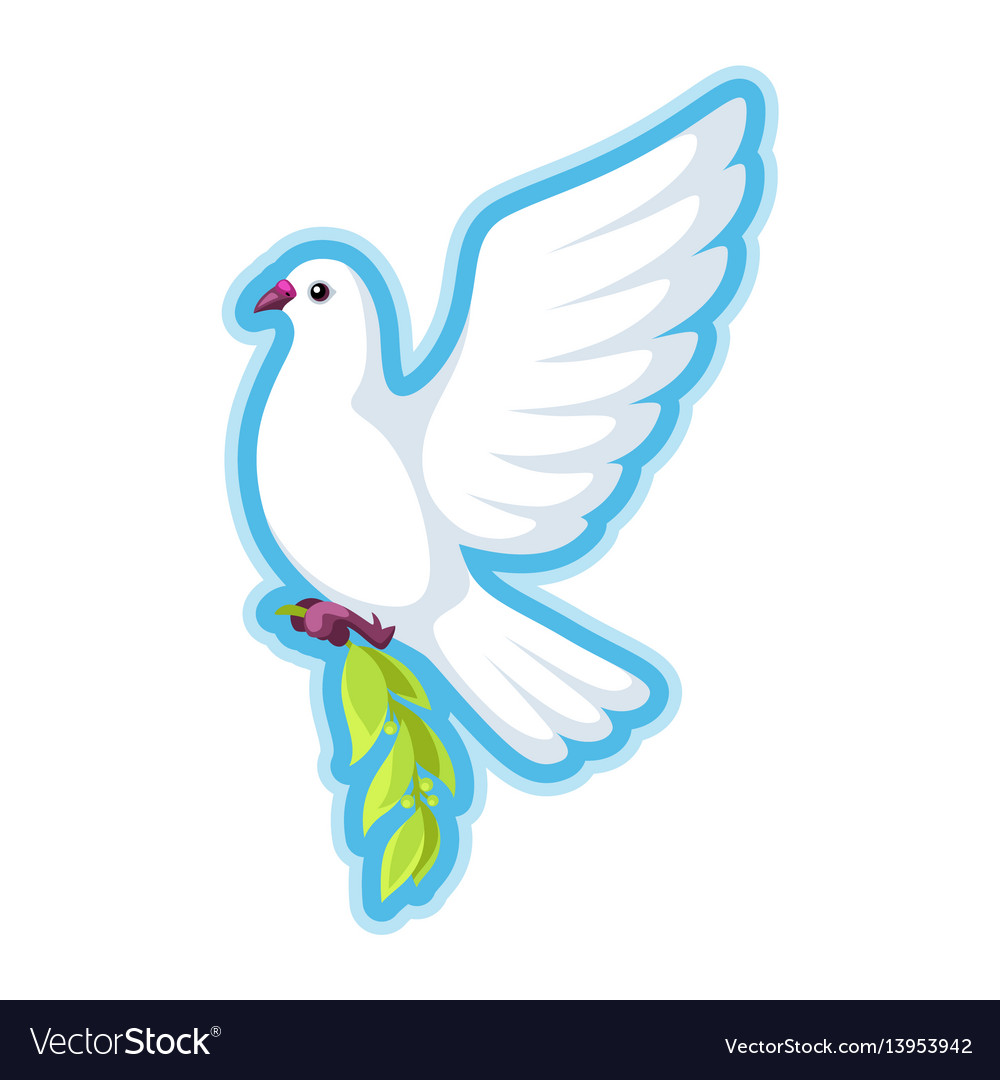 White dove of peace bears olive branch