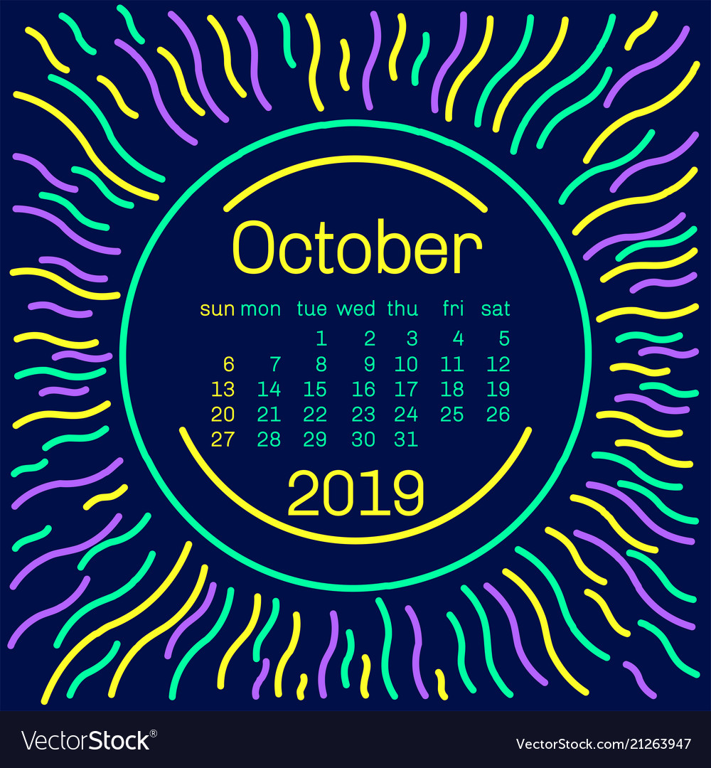 2019 october calendar page in memphis style