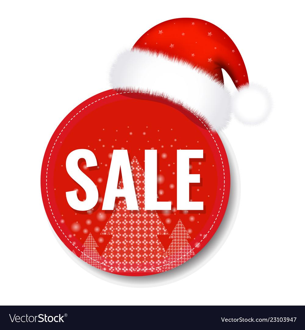 Christmas sale tag with santa claus cap