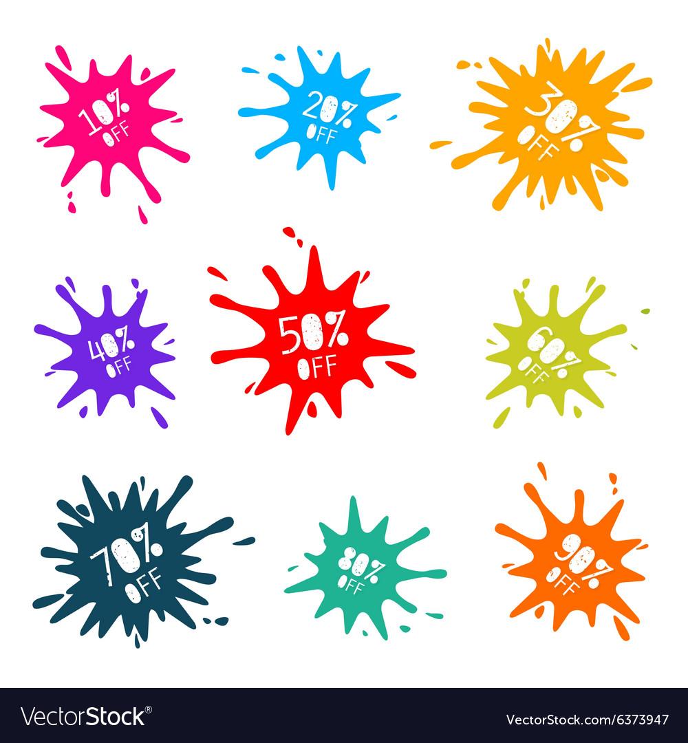 Colorful Sale Splashes Set vector image