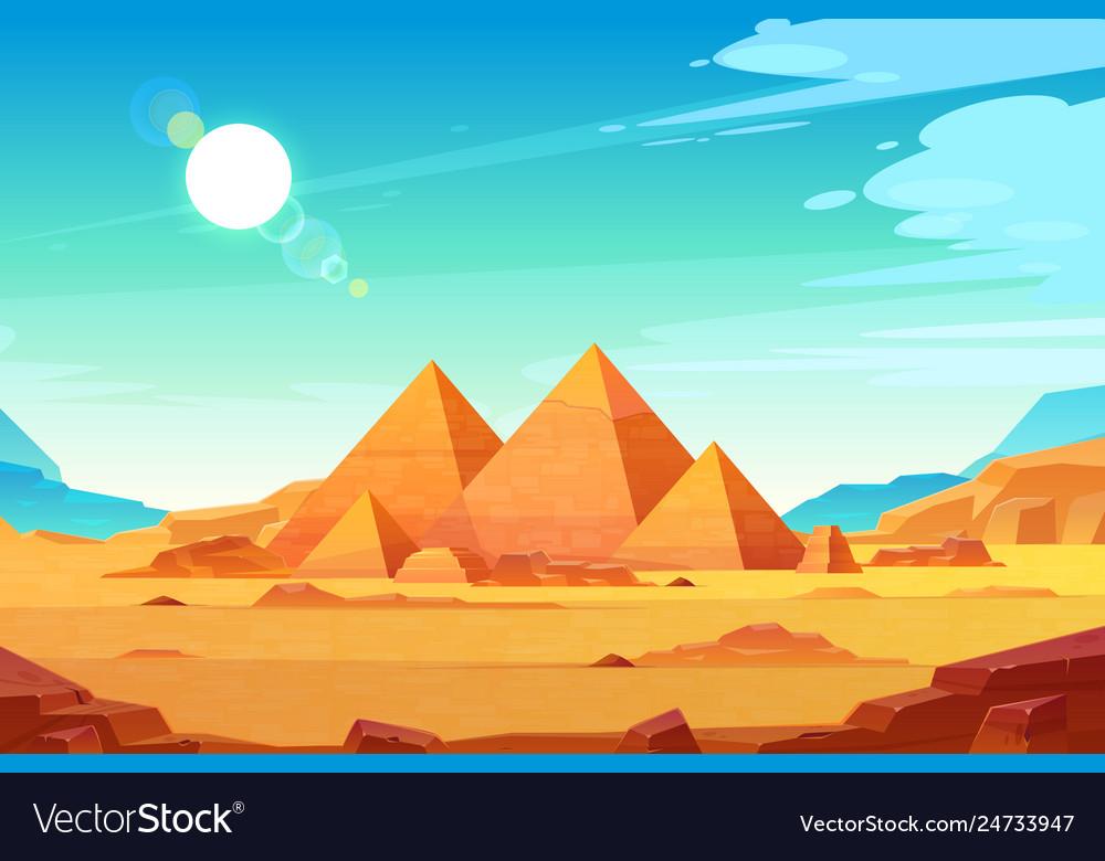 Egyptian pyramids landscape cartoon