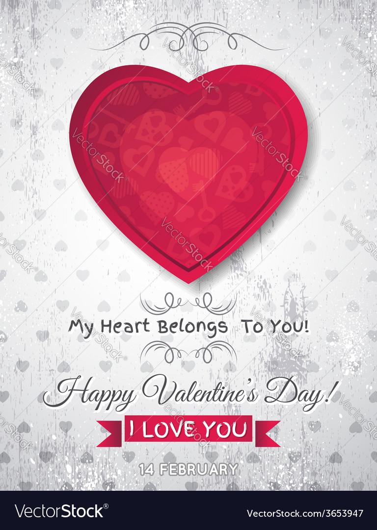 Grey grunge background with red valentine heart