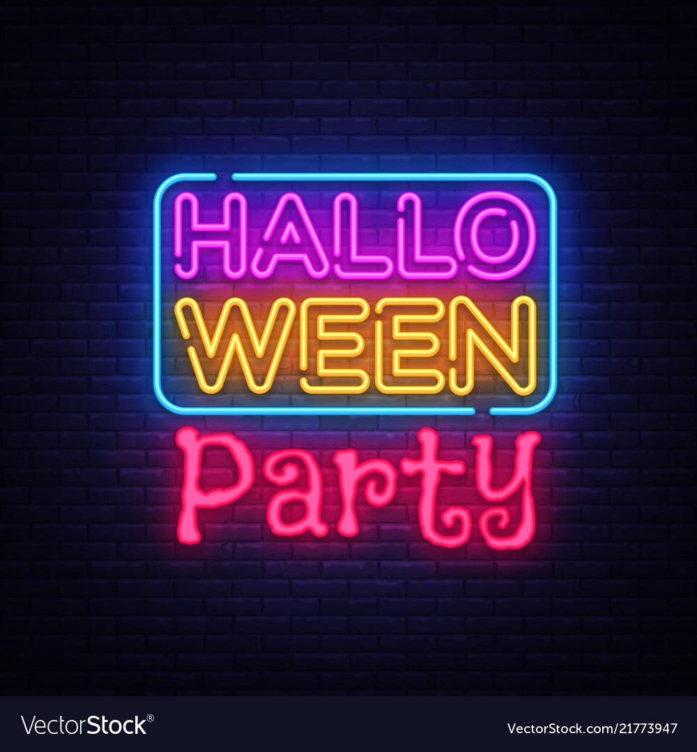 Halloween party text happy halloween neon