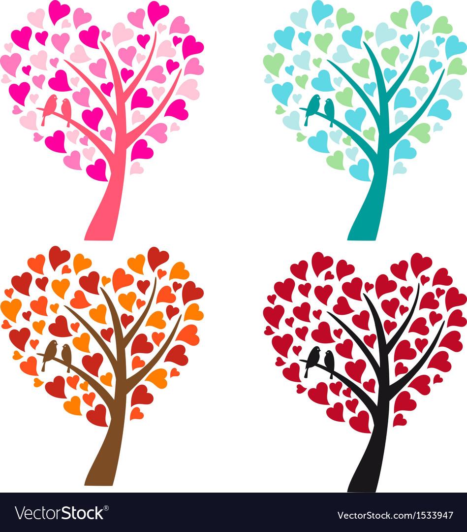 Heart shaped tree with birds