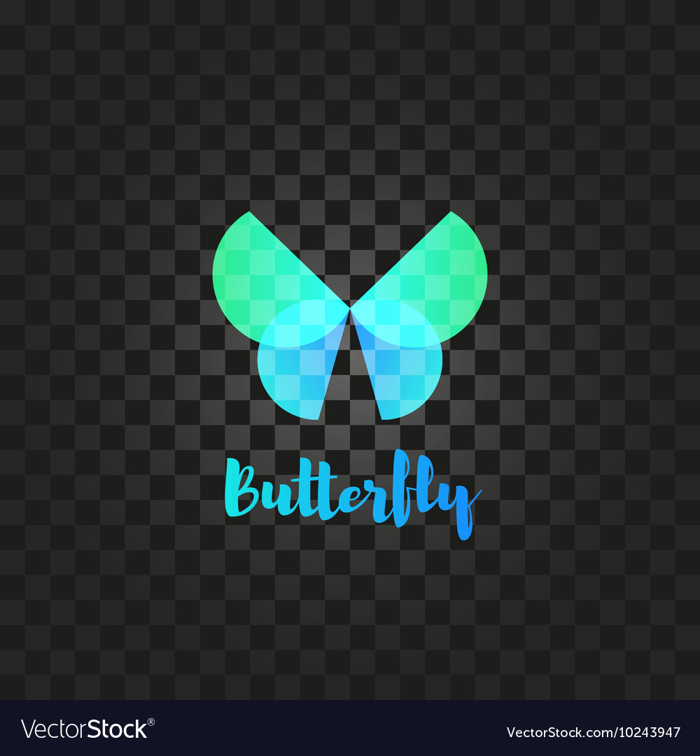 Isolated turquoise butterfly logo Insects