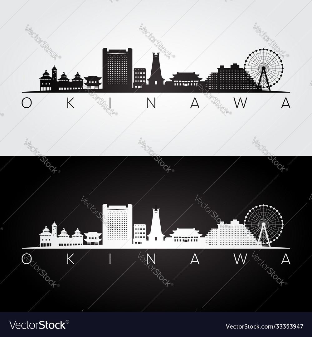 Okinawa japan skyline and landmarks silhouette