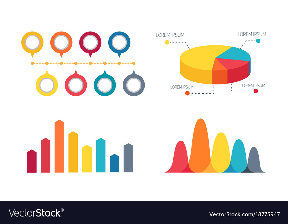 Pie Chart And Bar Graphs Royalty Free Vector Image