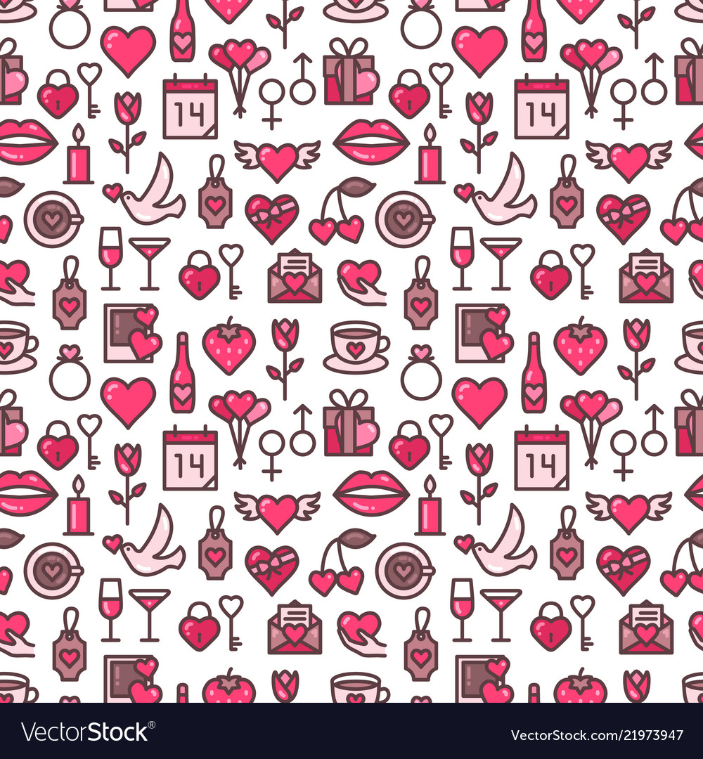 Romantic background and seamless pattern