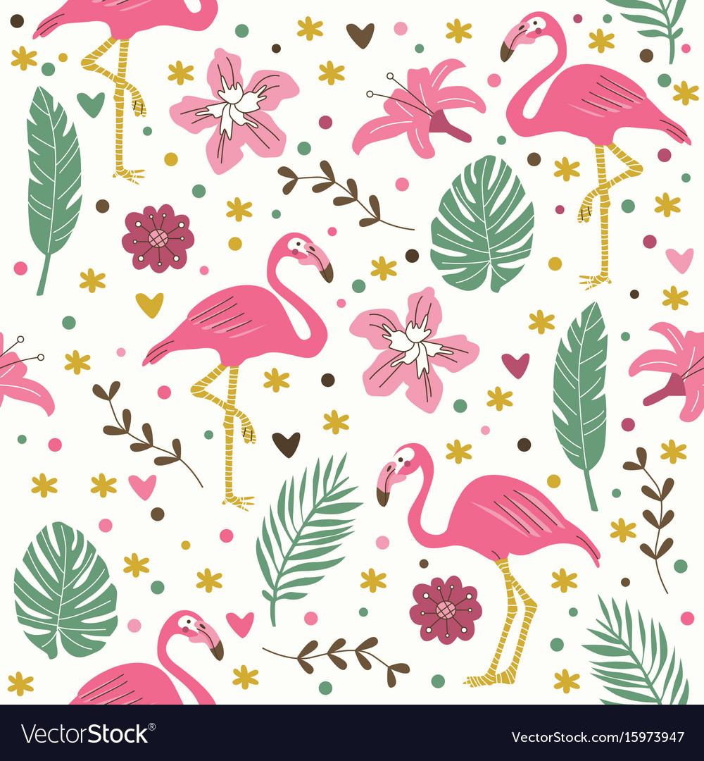 Seamless flamingo pattern wallpaper background vector image