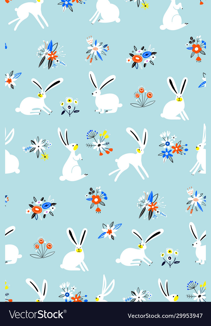 Seamless pattern with cute white bunnies in the