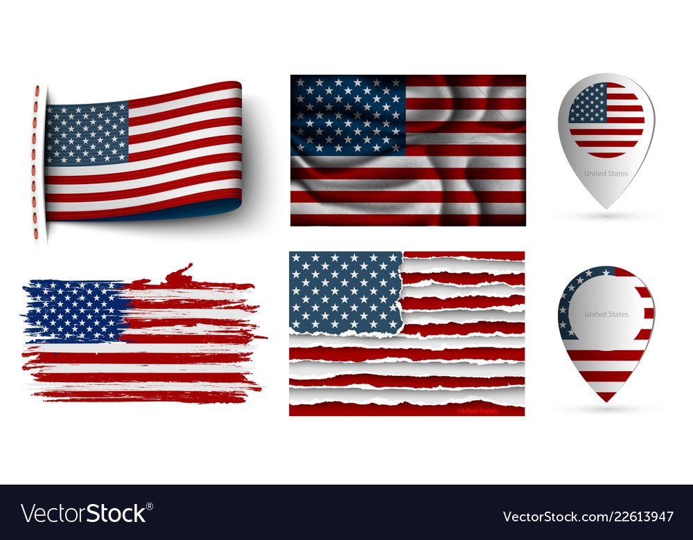 Set usa flags collection isolated