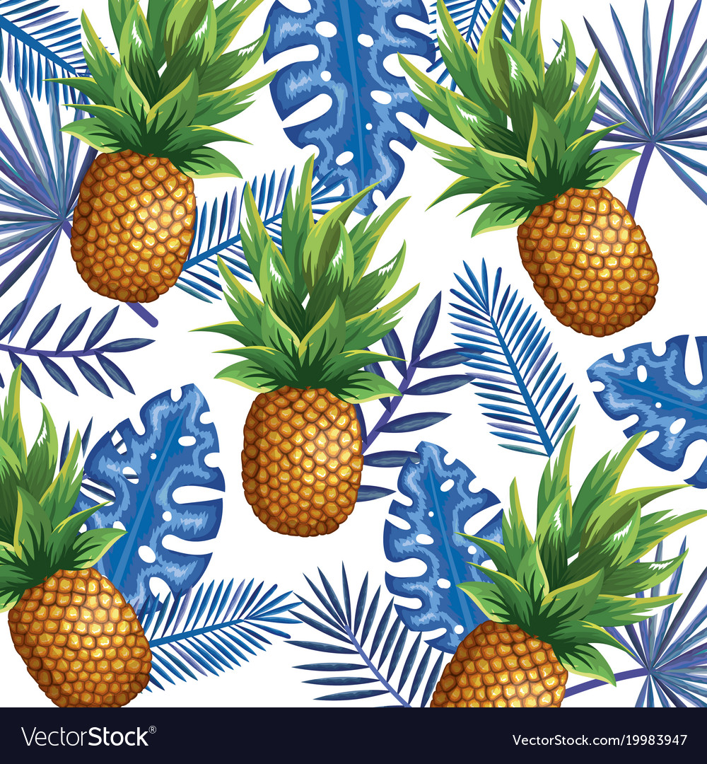 Tropical garden with pineapple