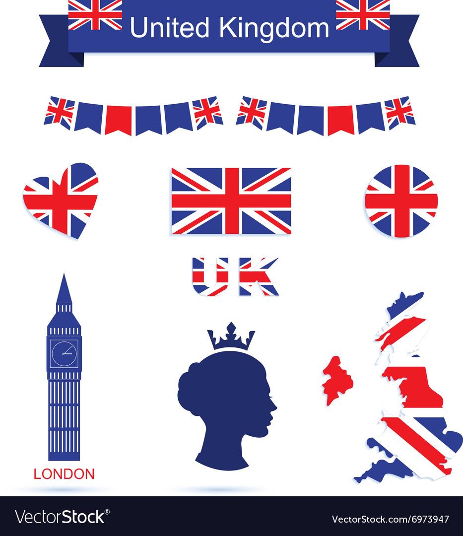 United Kingdom symbols UK flag icons set