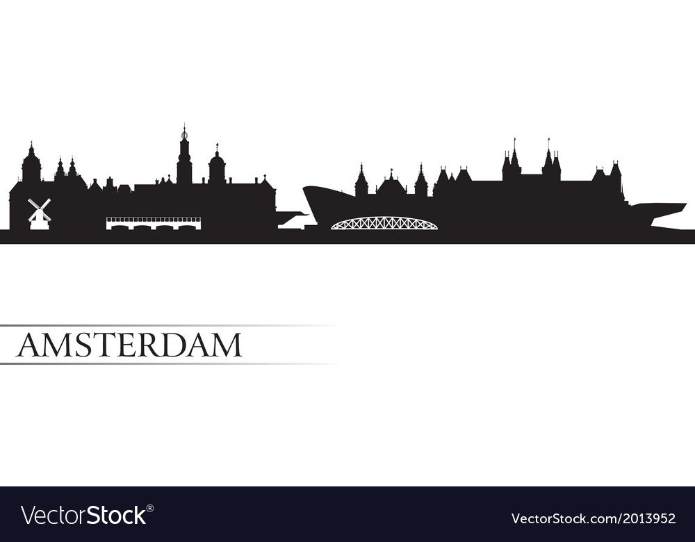 Amsterdam city skyline silhouette background vector image