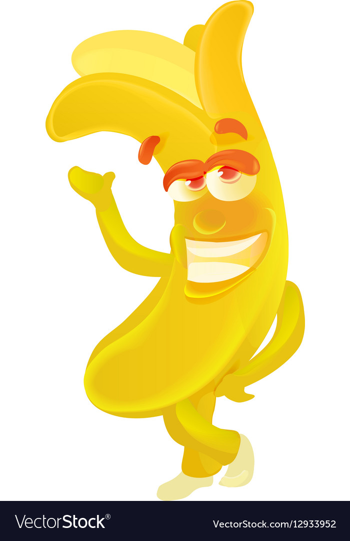 Banana Cute fruit character isolated on white