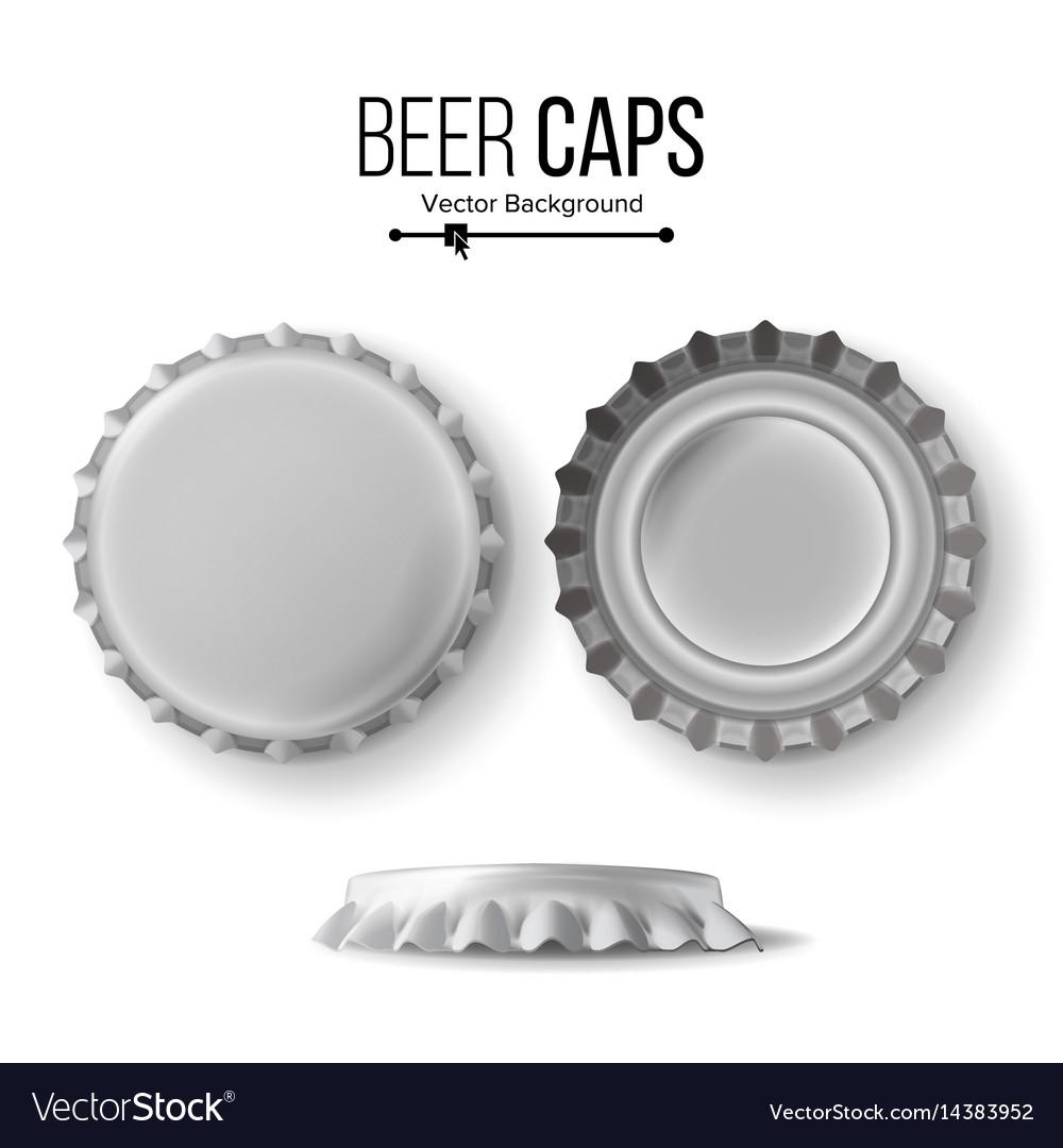 Beer cap cap side top back view for vector image