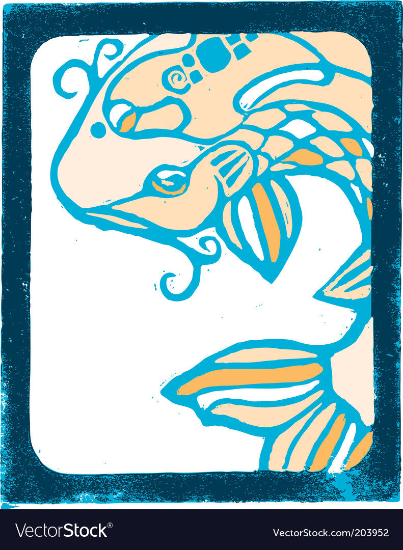 Description Wood block of orange and blue koi fish with bold frame
