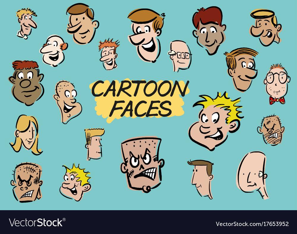 Cartoon faces doodles in colour