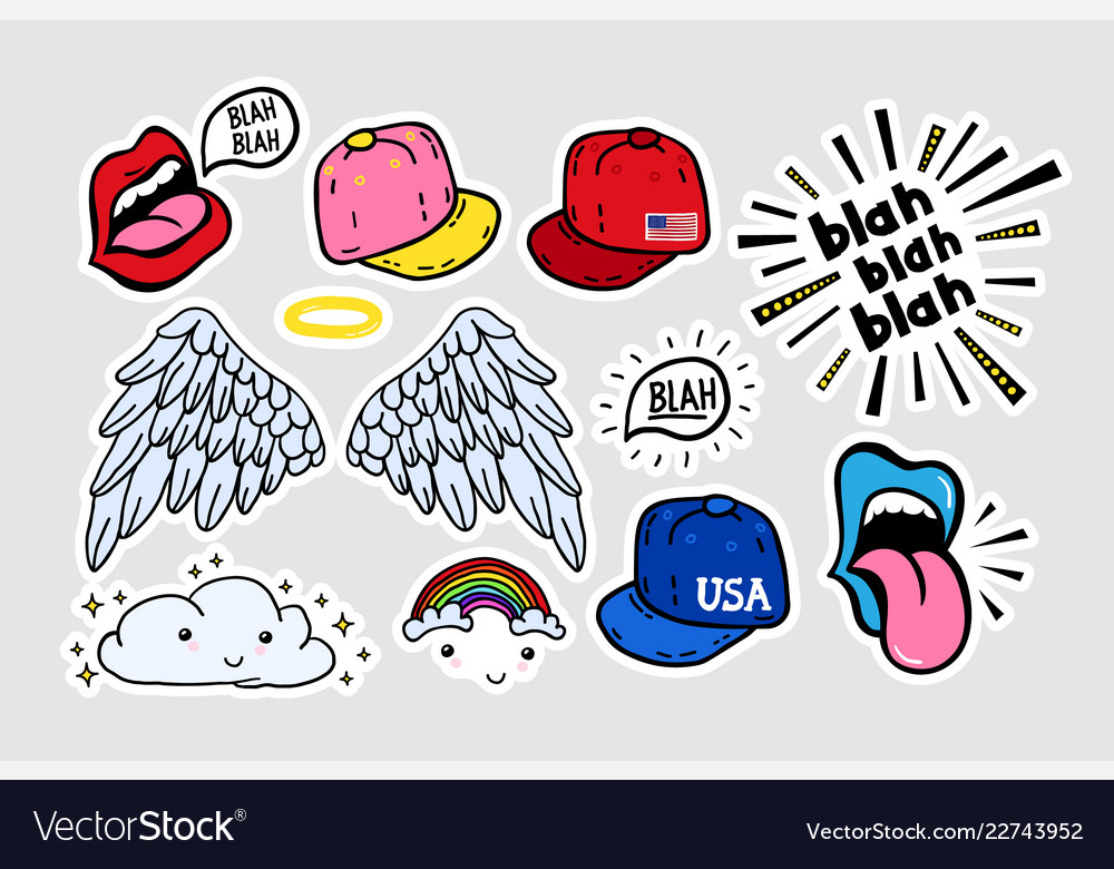Comic cute stickers patches in 70 s 80 s 90 s