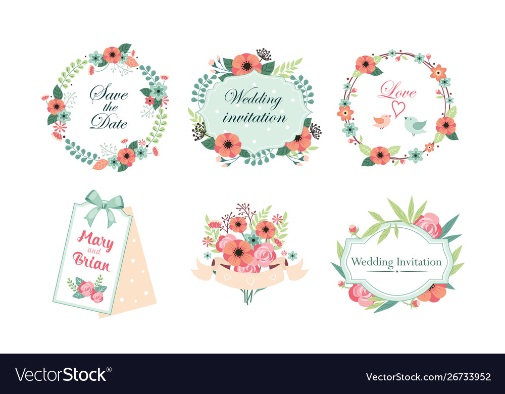 Floral frame collection wedding invitation save
