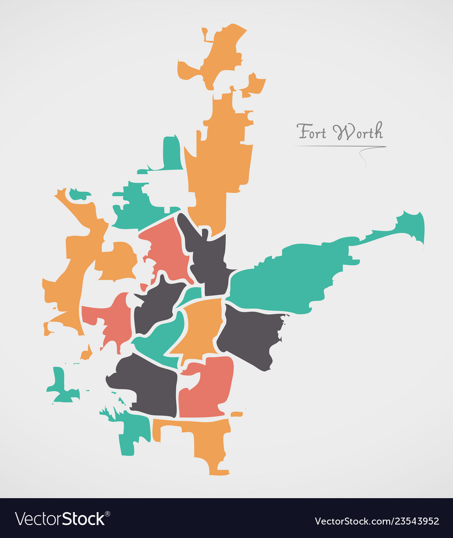 Fort Worth Texas Map With Neighborhoods And Vector Image