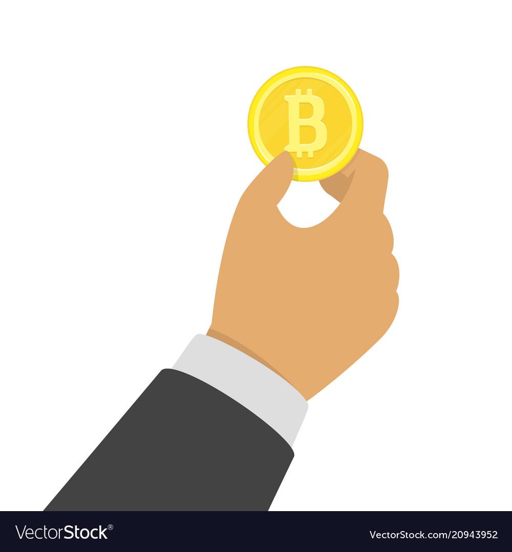 Hand holding bitcoin