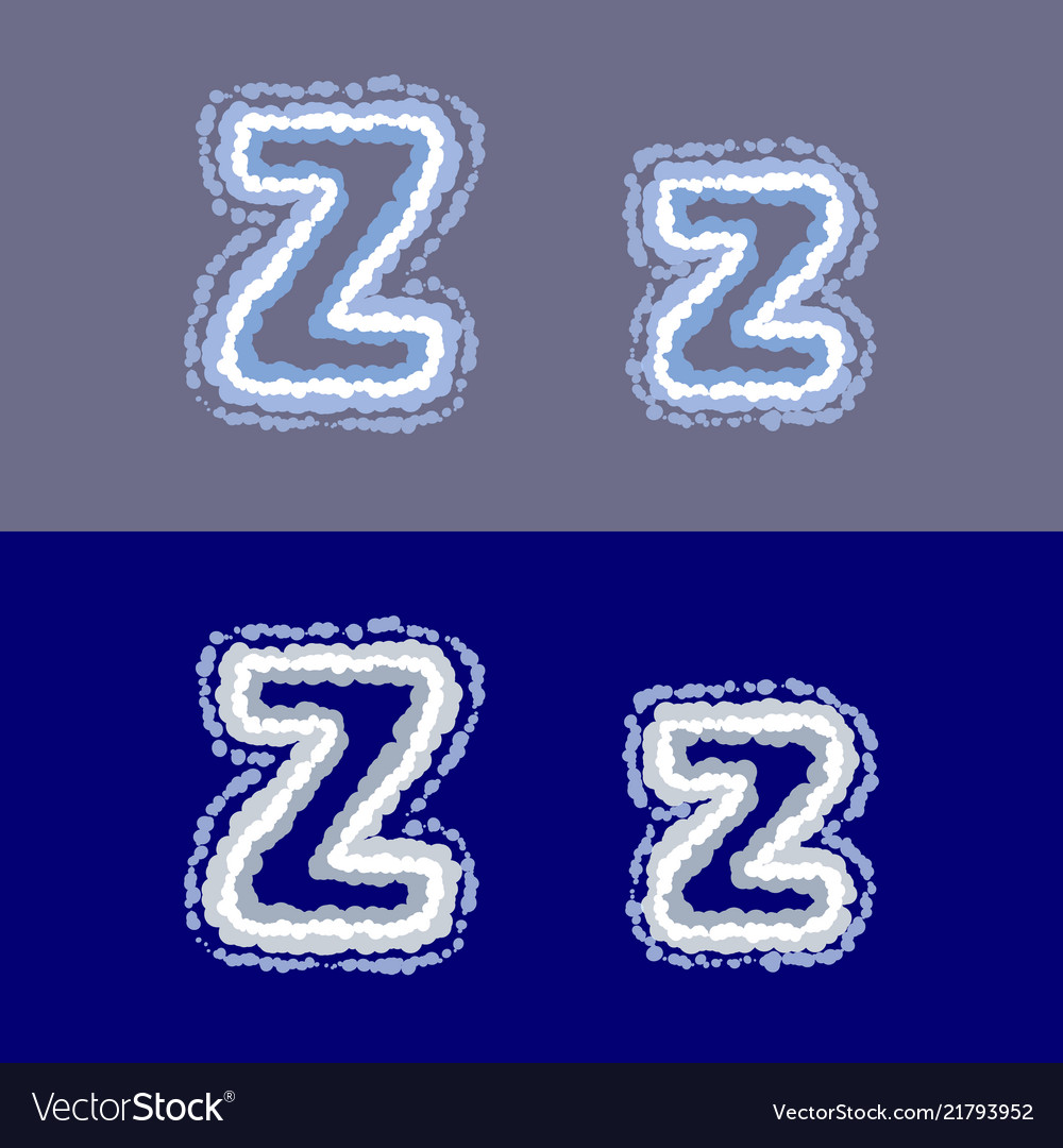 Letter z on grey and blue background