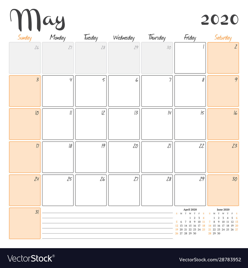 May 2020 Monthly Calendar Planner Printable Vector Image
