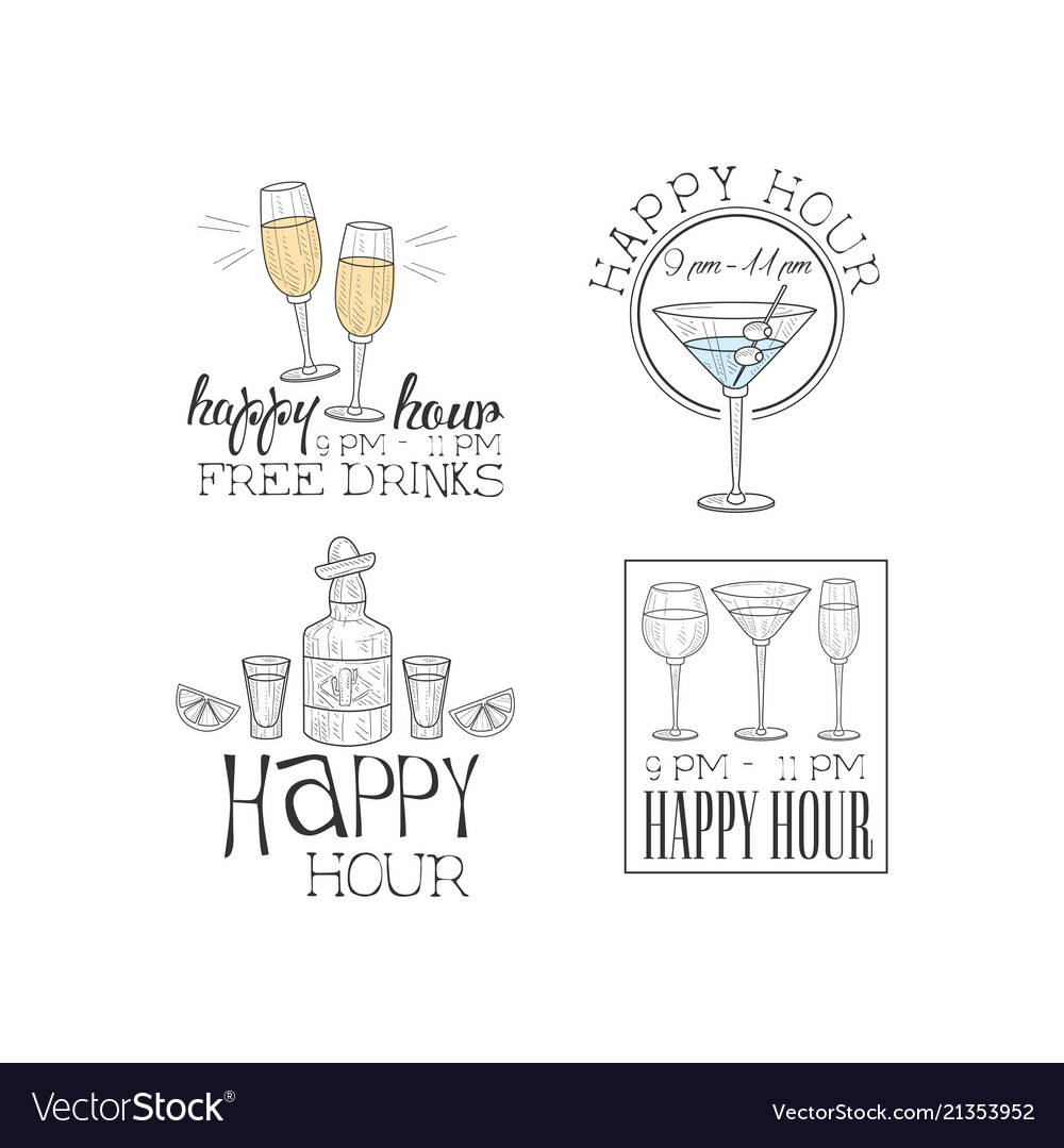 Set of 4 hand drawn logos for cocktail bar