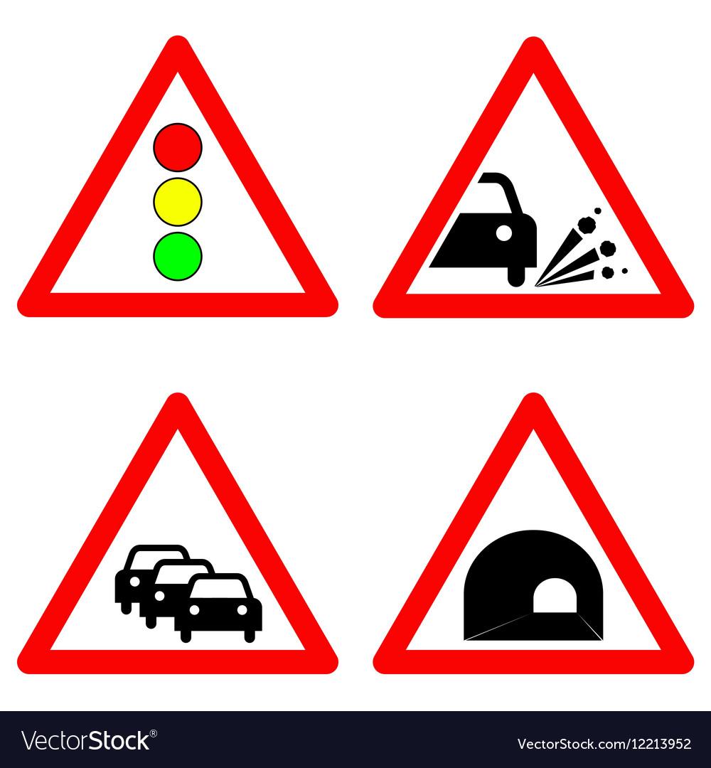 Set of traffic signs Traffic lights gravel road