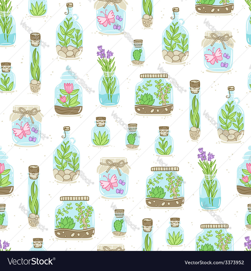 Terrariums on white background seamless pattern