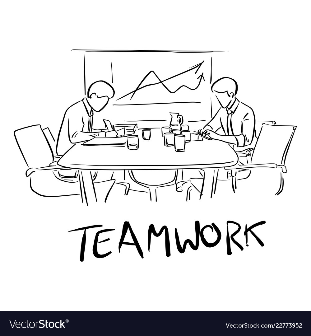 Two businessmen working together on table with