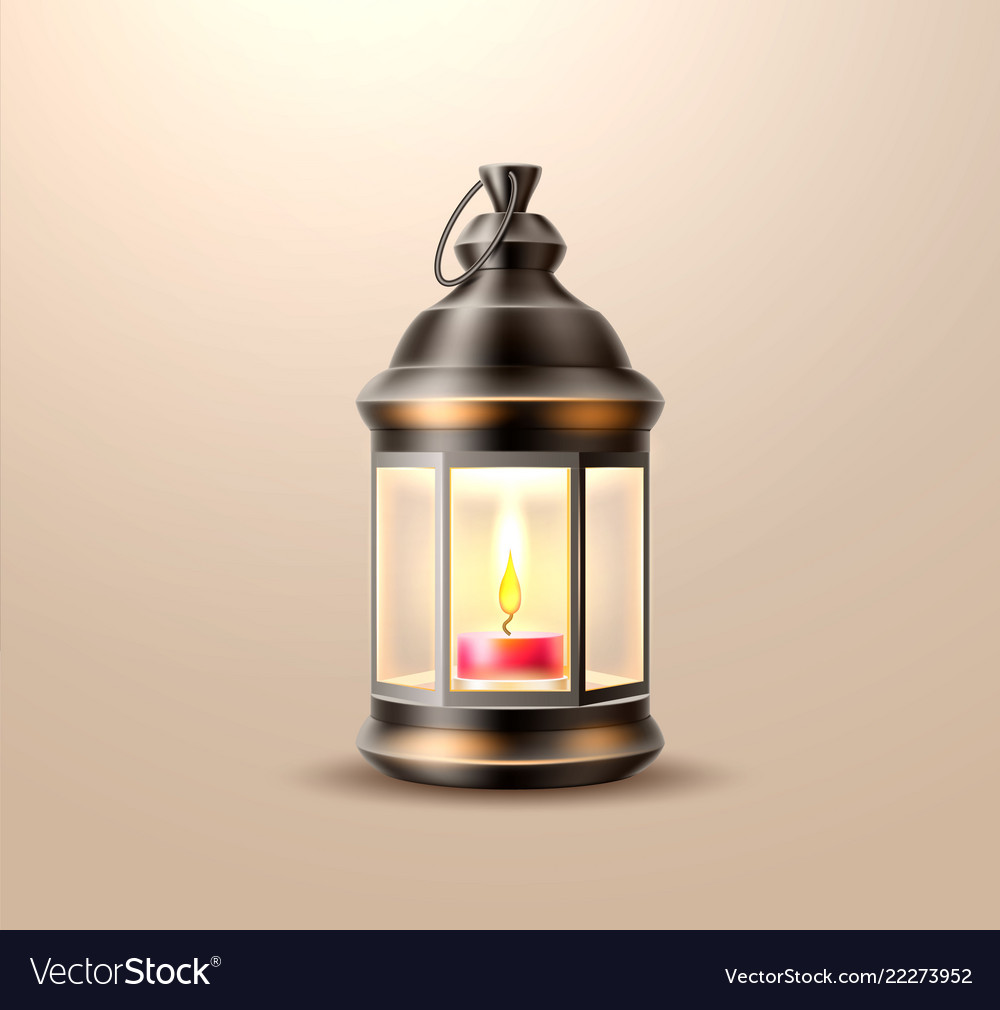 Vintage Old Lantern Lamp With Candle