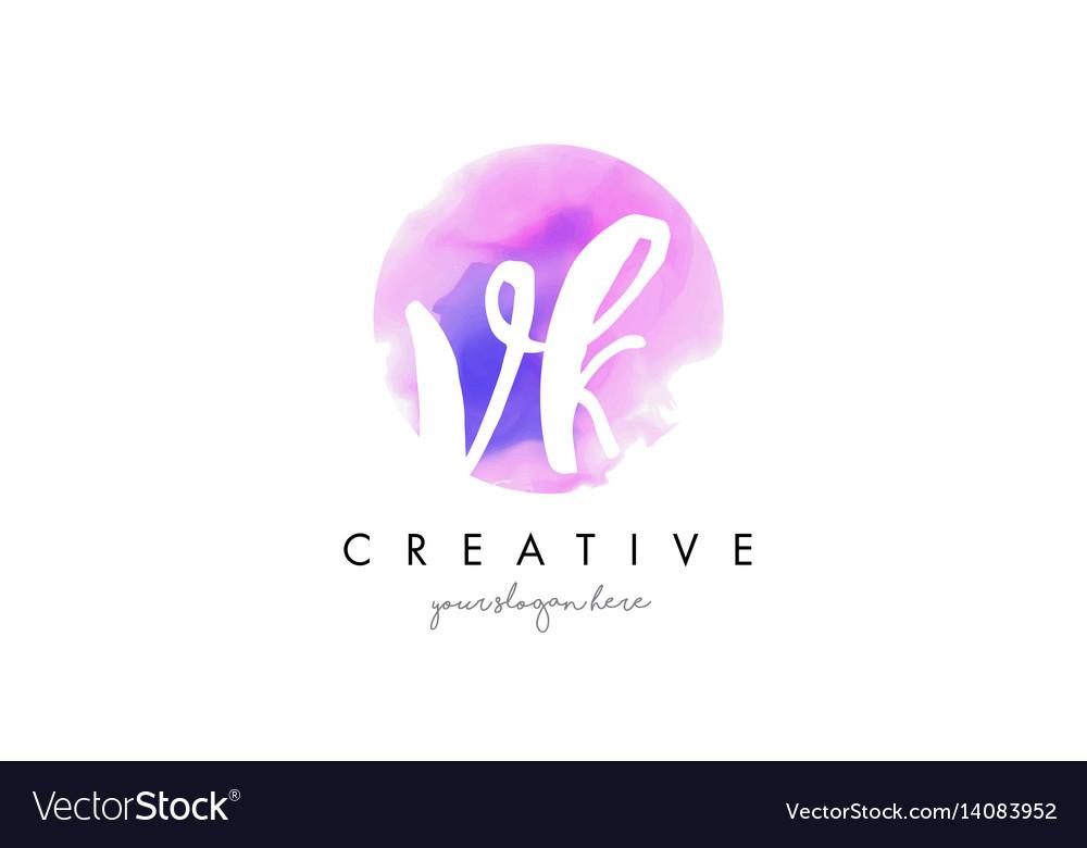 Vk watercolor letter logo design with purple vector image