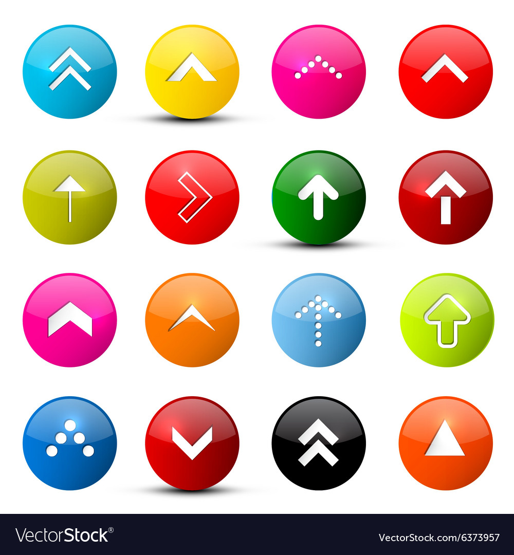 Arrows Set Colorful Arrows in Circles Isolated on