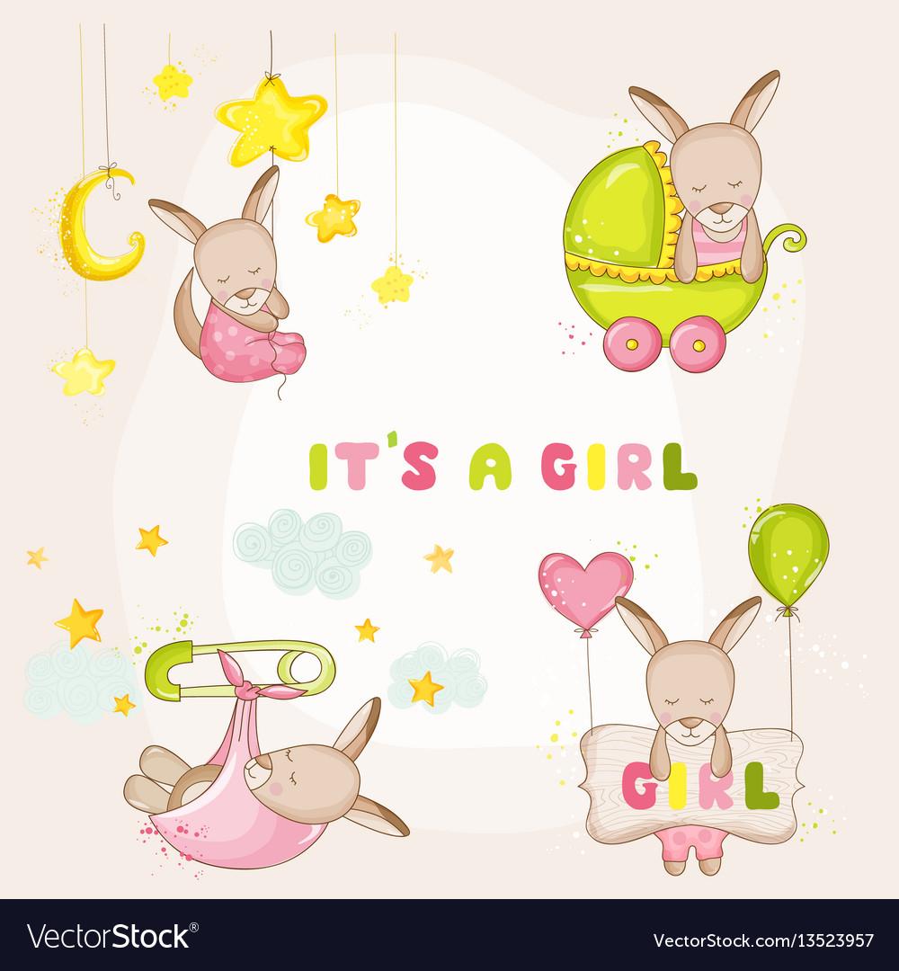 Baby girl kangaroo set - for baby shower cards