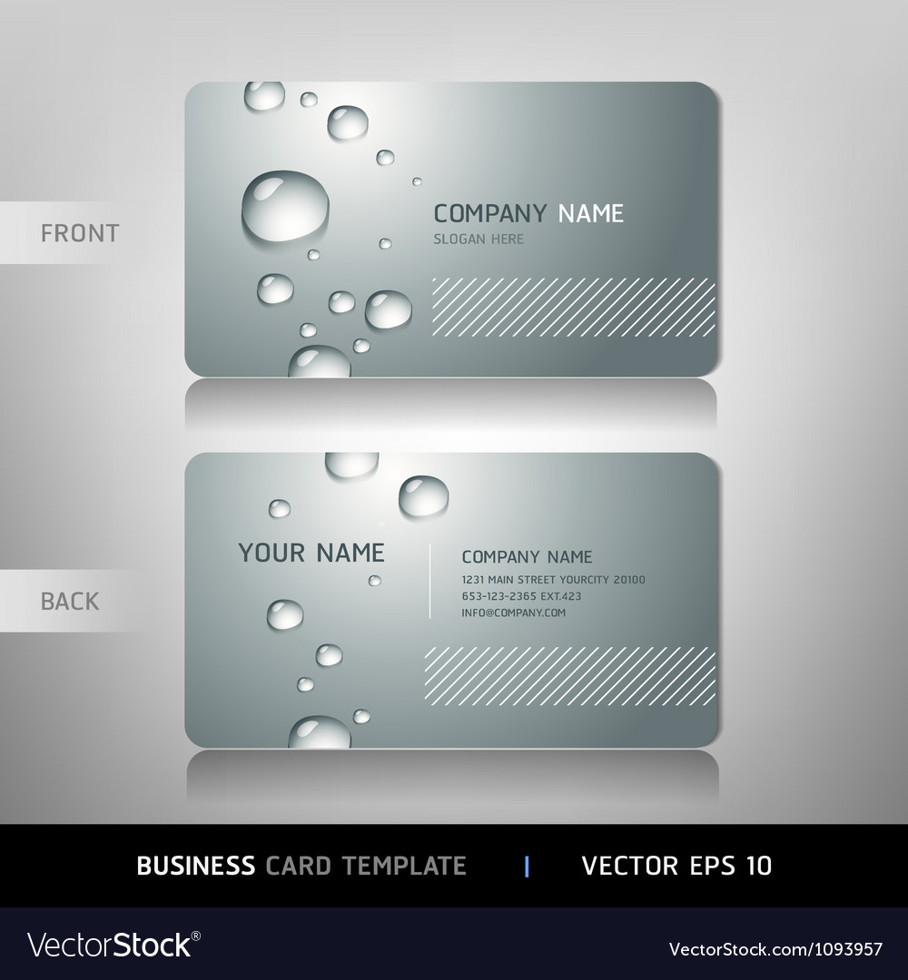 business card with water drop royalty free vector image