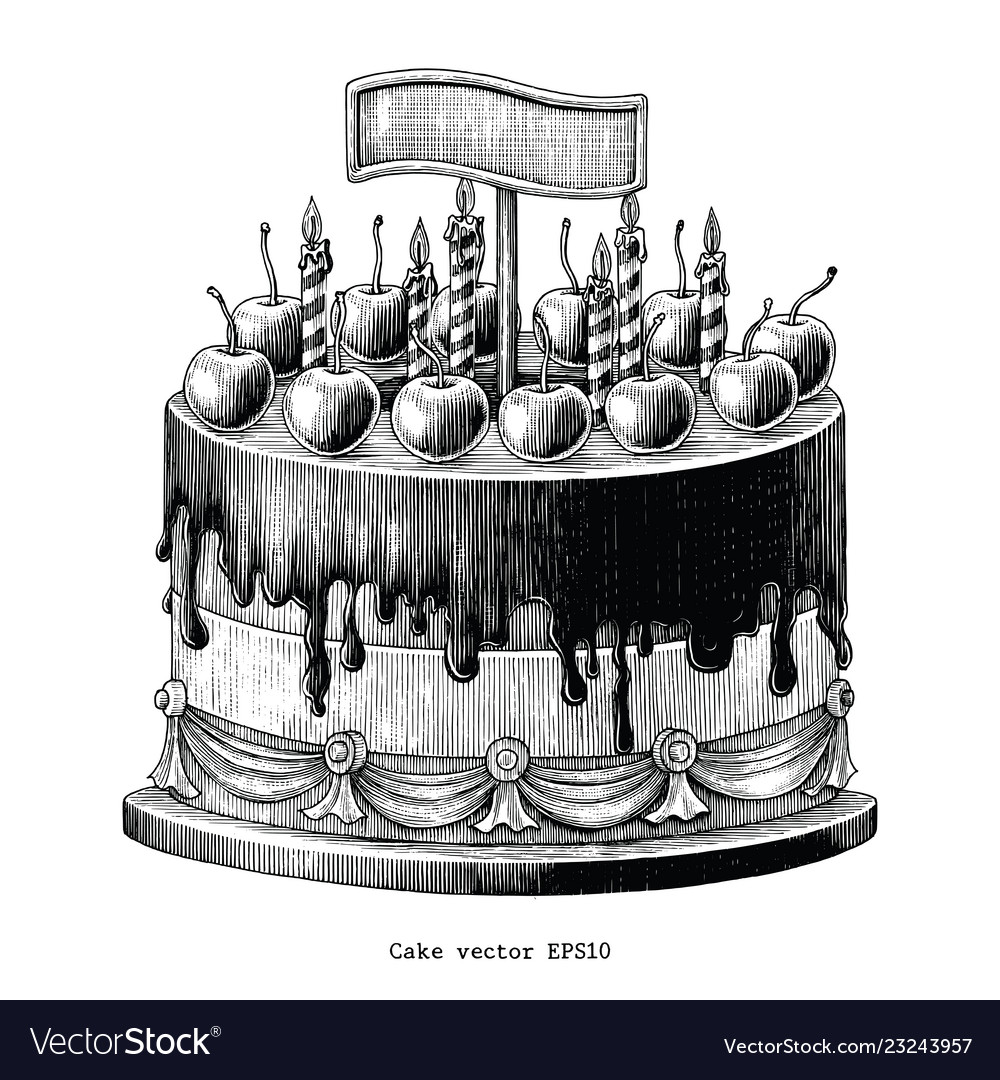 Cake hand drawing vintage clip art isolated on