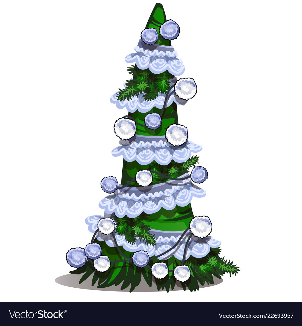 Christmas Topiary.Cartoon Topiary In The Form Of A Cone Christmas