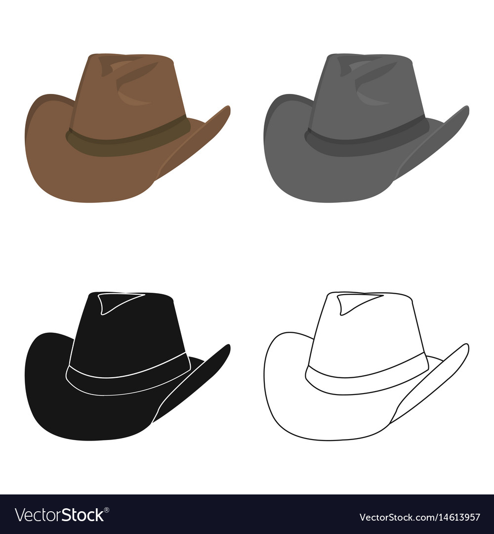 Cowboy hat icon cartoon singe western icon from