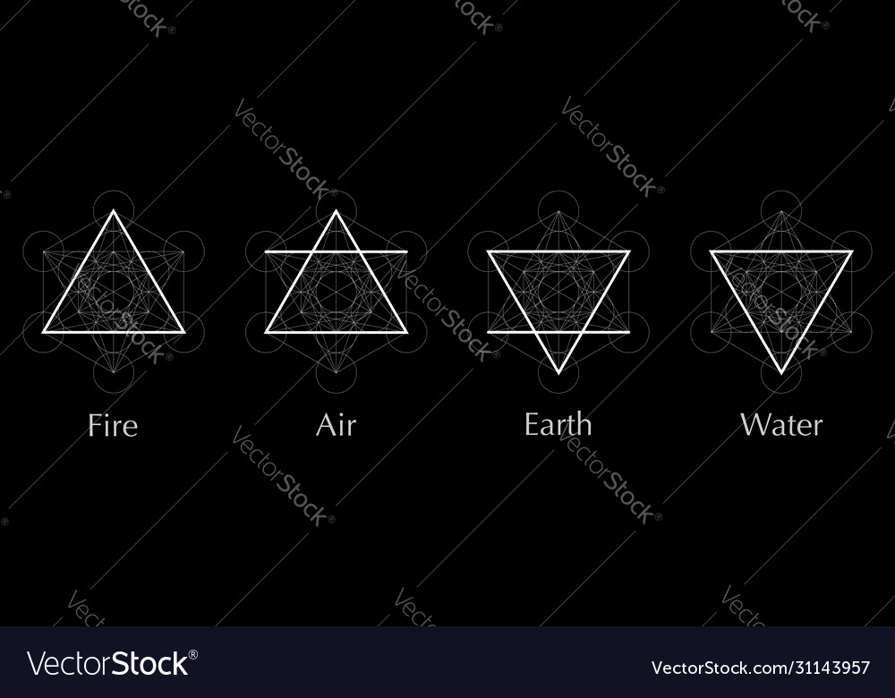 Four elements icons air fire water earth symbol