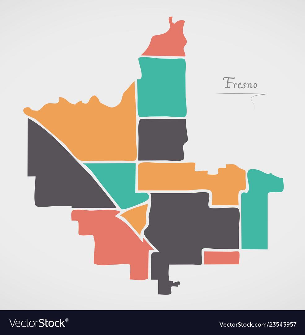 Map Of California Fresno.Fresno California Map With Neighborhoods And