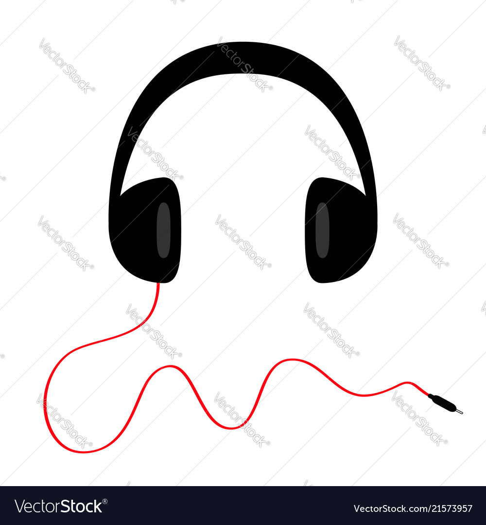 Headphones with curl red cord plug black