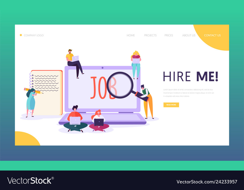 Online Job Search >> Online Job Search Concept Landing Page Character