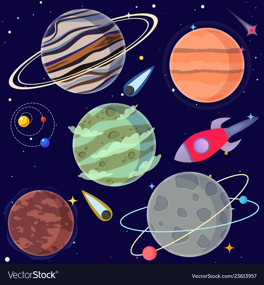 Set cartoon planets and space elements