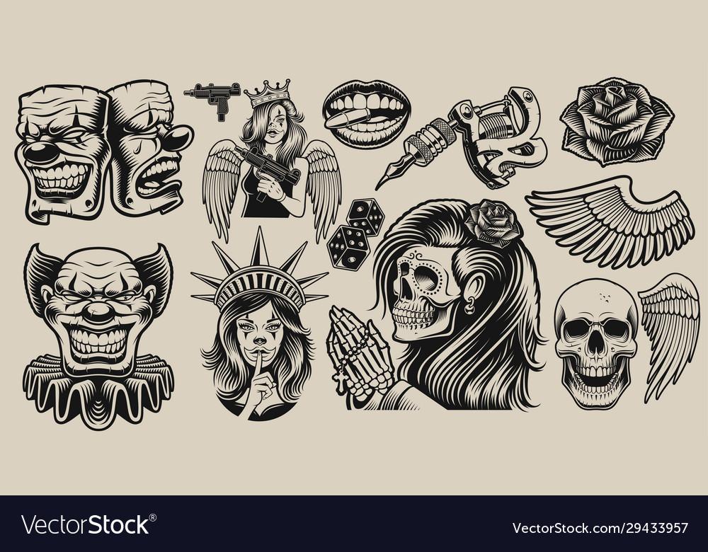 Set design elements for tattoo theme