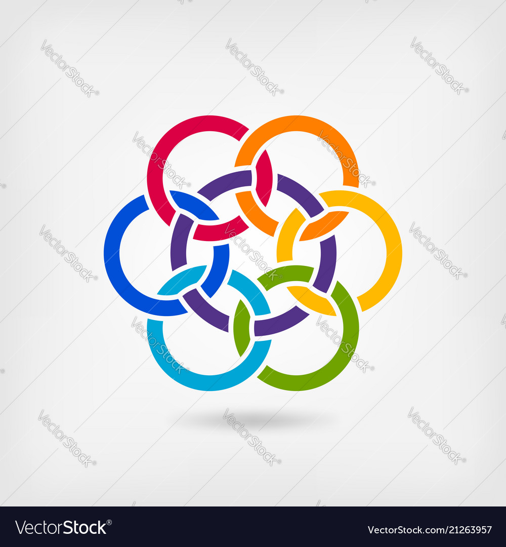 Seven interlocked circles in rainbow colors